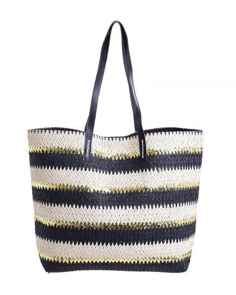 Ψάθινη Τσάντα Σε Μαύρο/Χρυσό