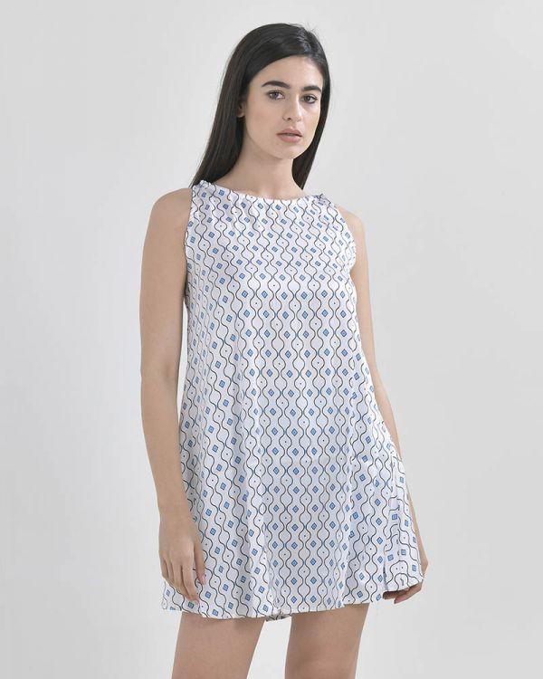 Φόρεμα Aμάνικο Ριχτό Με Σχέδια