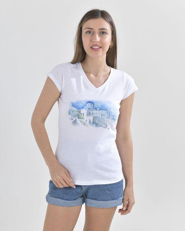 T-Shirt Mε Τύπωμα Μύκονος