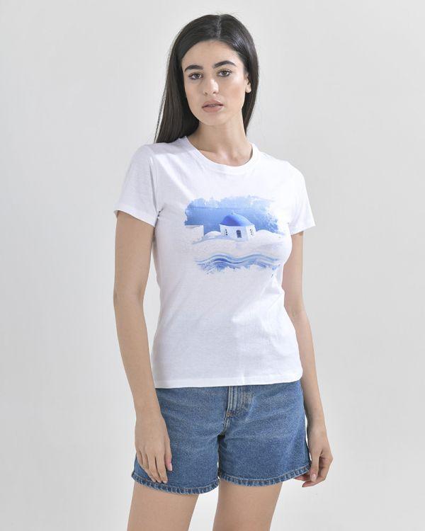 T-Shirt Mε Τύπωμα Σαντορίνη