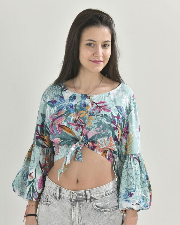Crop-Top Tropical Print