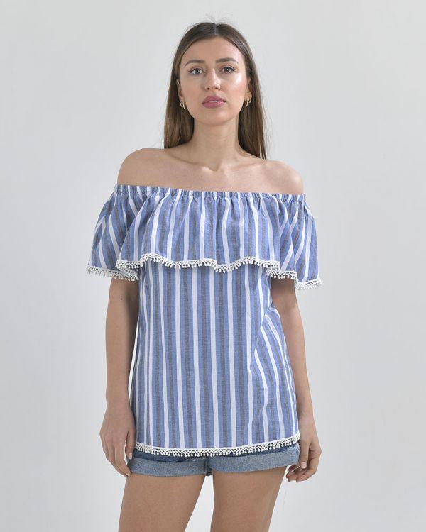 Μπλουζάκι Off Shoulder Ριγέ