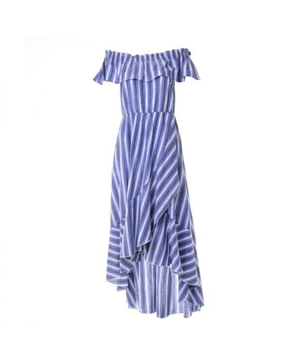 Φόρεμα Off Shoulder Ασύμμετρο