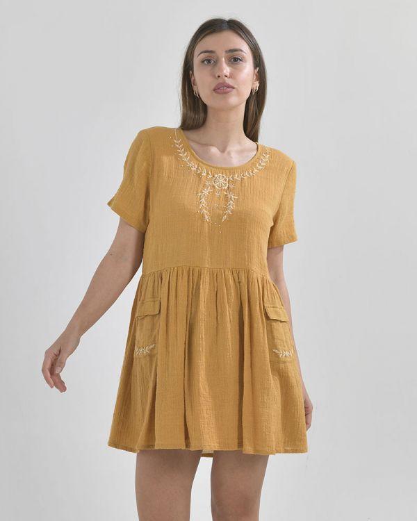 Φόρεμα Λινό Με Κέντημα