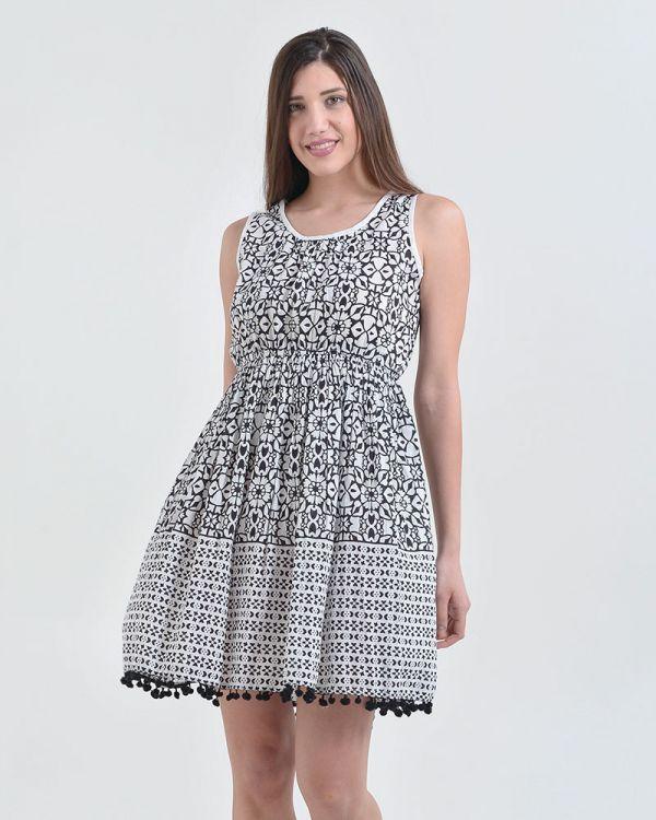 Φόρεμα Αμάνικο Εμπριμέ