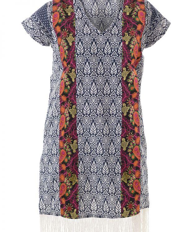 Φόρεμα Εμπριμέ Με Κρόσσια