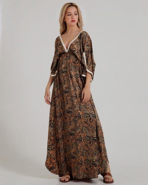 Φόρεμα Maxi Eμπριμέ