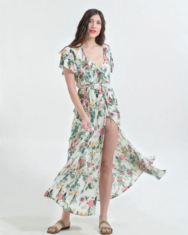 Φόρεμα Maxi Κρουαζέ Floral