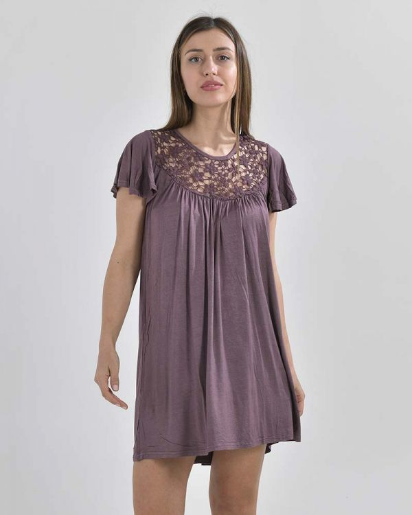 Φόρεμα Ριχτό Με Δαντέλα