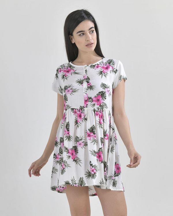 Φόρεμα Floral Με Κουμπιά