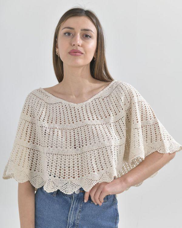 Πόντσο Crochet Κοντό