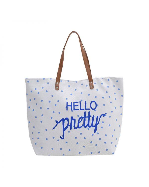 Τσάντα Ψάθινη Με Prints