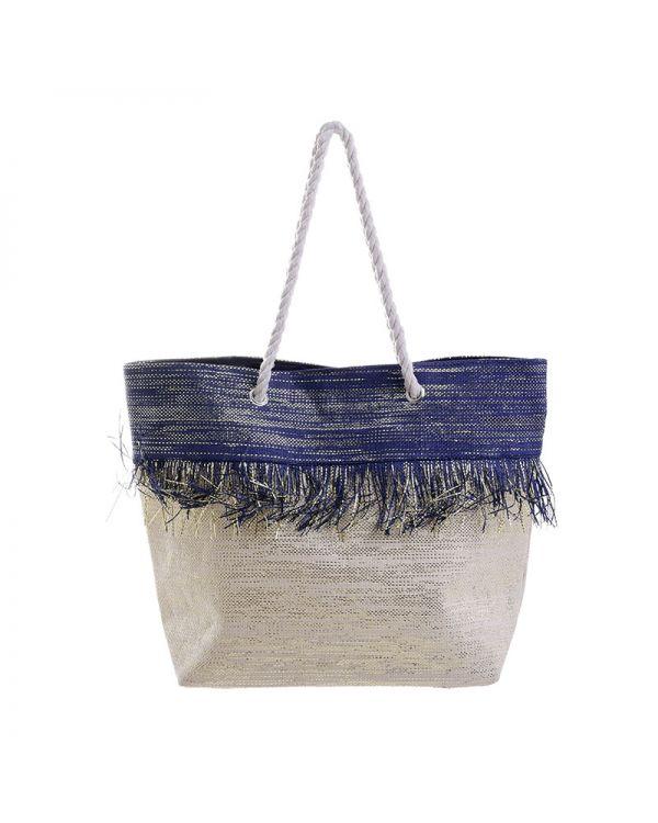 Τσάντα Ψάθινη Με Lurex