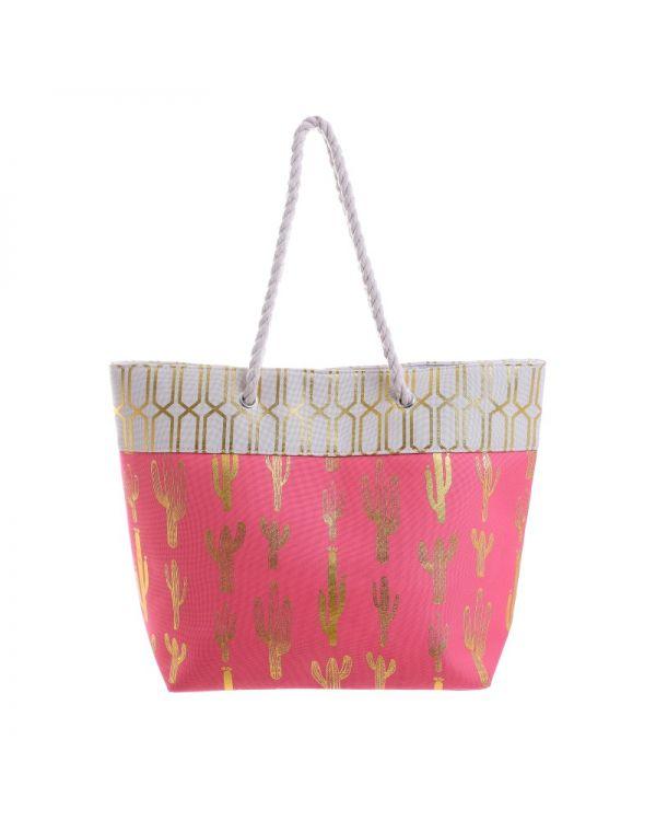 Τσάντα Ψάθινη Mε Prints