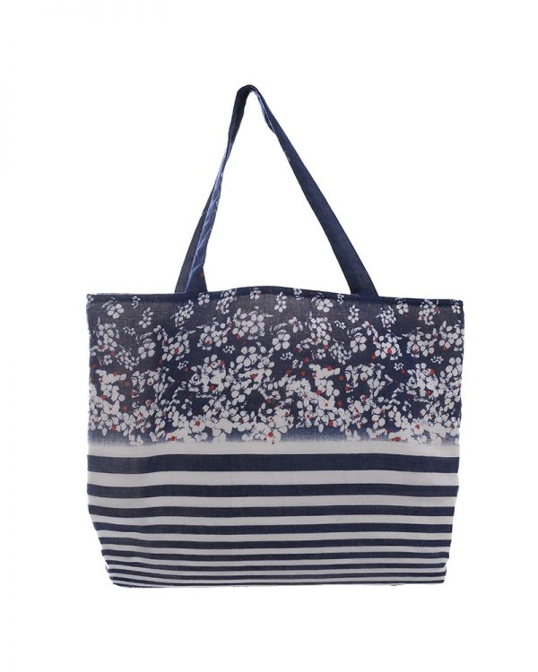 Τσάντα Υφασμάτινη Ριγέ/Floral