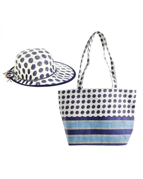 Τσάντα-Καπέλο Πουά Σετ