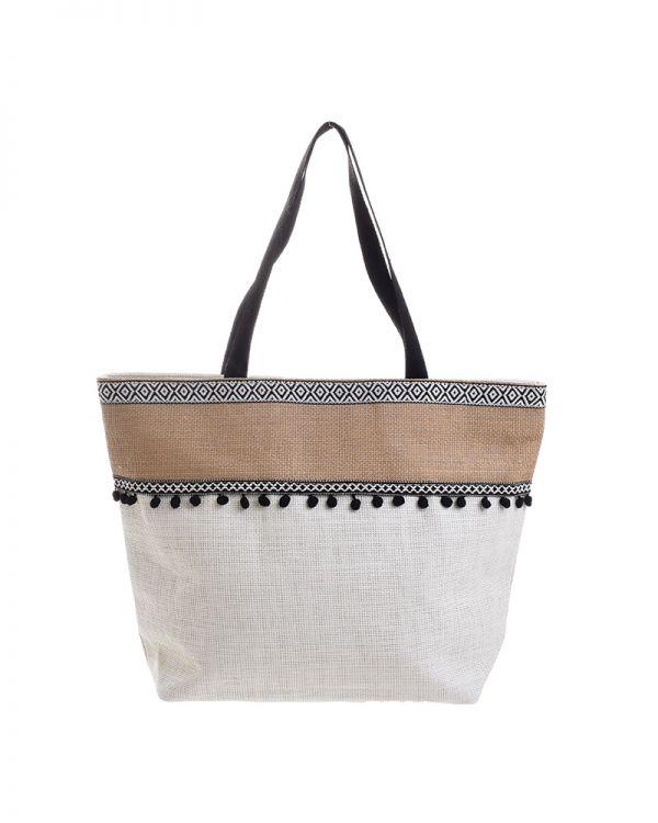 Τσάντα Υφασμάτινη Με Pom Pom