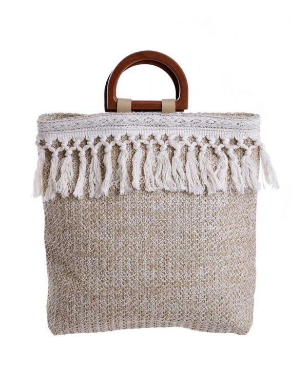 Τσάντα Ψάθινη Με Κρόσσια