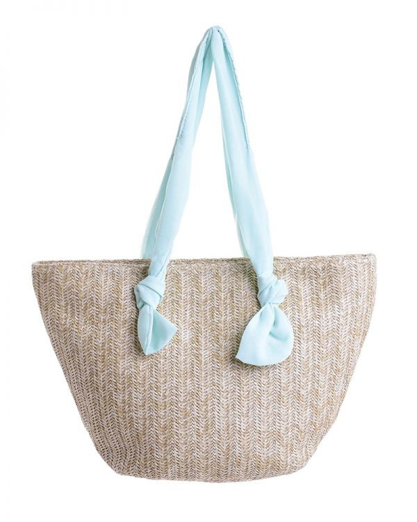Τσάντα Ψάθινη Με Κορδέλα