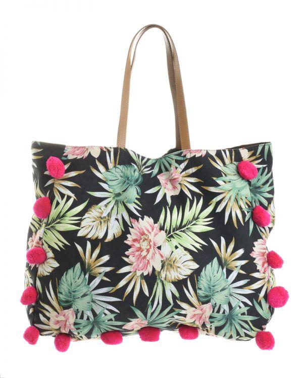 Τσάντα Floral Με Pom Pom