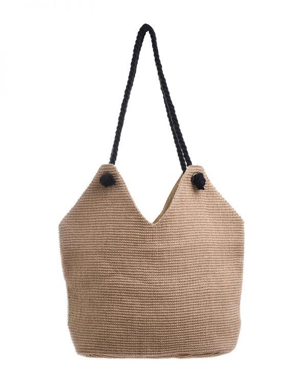 Τσάντα Ψάθινη Με Κορδόνια