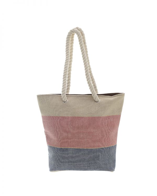 Τσάντα Υφασμάτινη Ριγέ