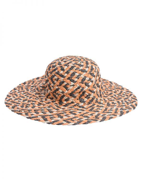 Καπέλο Ψάθινο Με Σχέδια