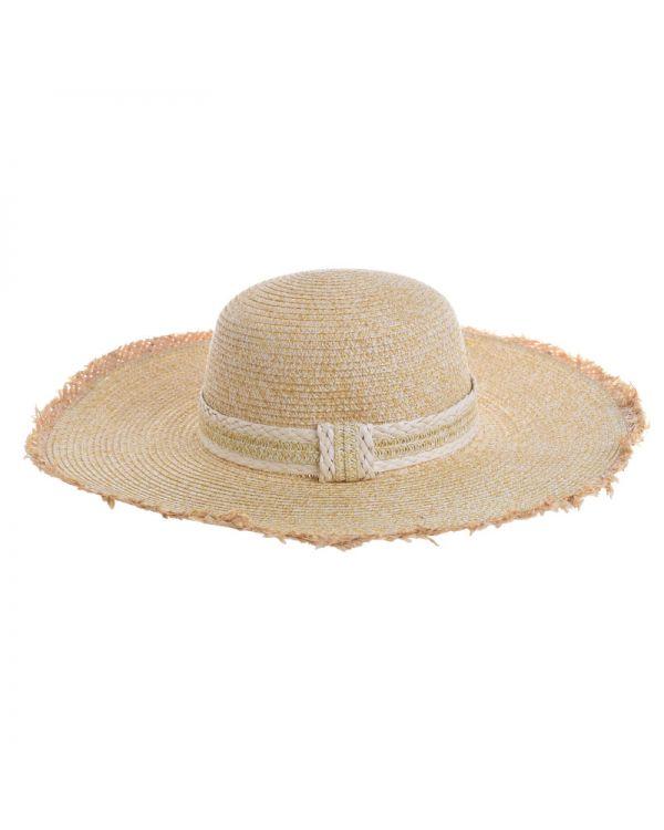 Καπέλο Ψάθινο Με Ξέφτια