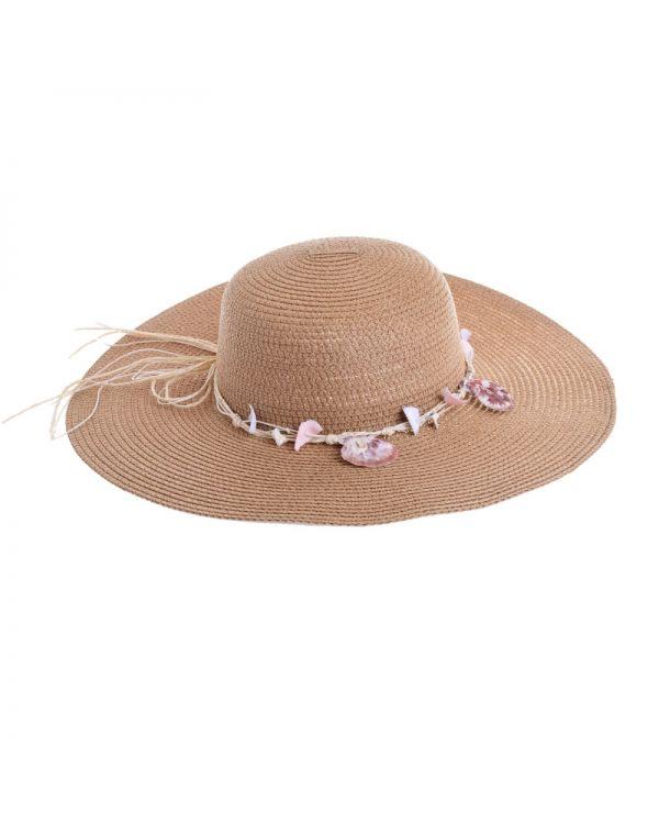 Καπέλο Ψάθινο Με Κοχύλια