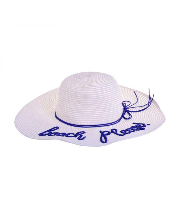 Καπέλο Ψάθινο Με Kέντημα