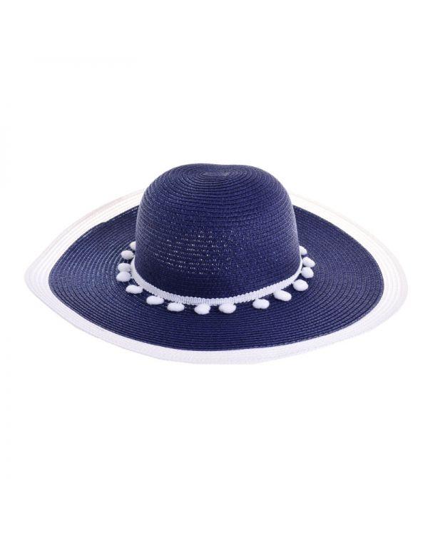 Καπέλο Ψάθινο Με Pom Pom